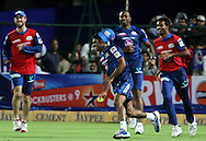 Mumbai Indian players play a throw ball game before the start of the match 1 of the Karbonn Smart Champions League T20 (CLT20) 2013  between The Rajasthan Royals and the Mumbai Indians held at the Sawai Mansingh Stadium in Jaipur on the 21st September 2013<br /> <br /> Photo by Vipin Pawar-CLT20-SPORTZPICS <br /> <br /> Use of this image is subject to the terms and conditions as outlined by the CLT20. These terms can be found by following this link:<br /> <br /> http://sportzpics.photoshelter.com/image/I0000NmDchxxGVv4