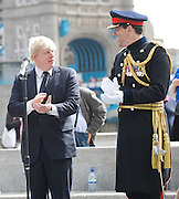 Raising the flag for Armed Forces Day <br /> at City Hall, London, Great Britain <br /> <br /> 20th June 2011<br /> <br /> Boris Johnson <br /> Mayor of London<br /> <br /> Brigadier Matthew Lowe MBE.<br /> <br /> <br /> Photograph by Elliott Franks