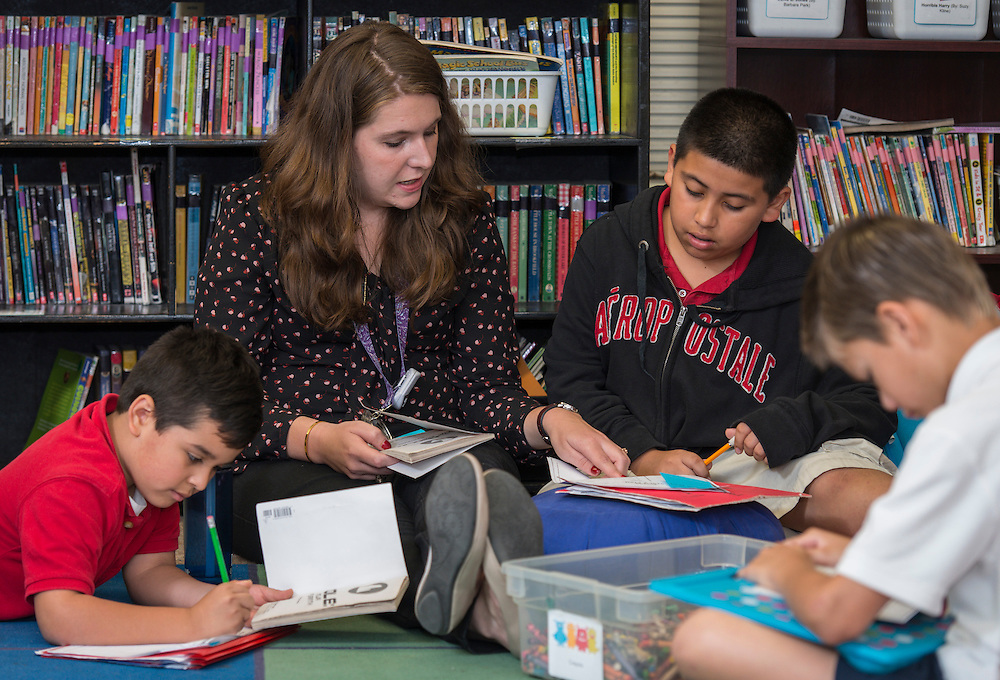 Lauren Aryes teaches at Durham Elementary School, April 28, 2015.