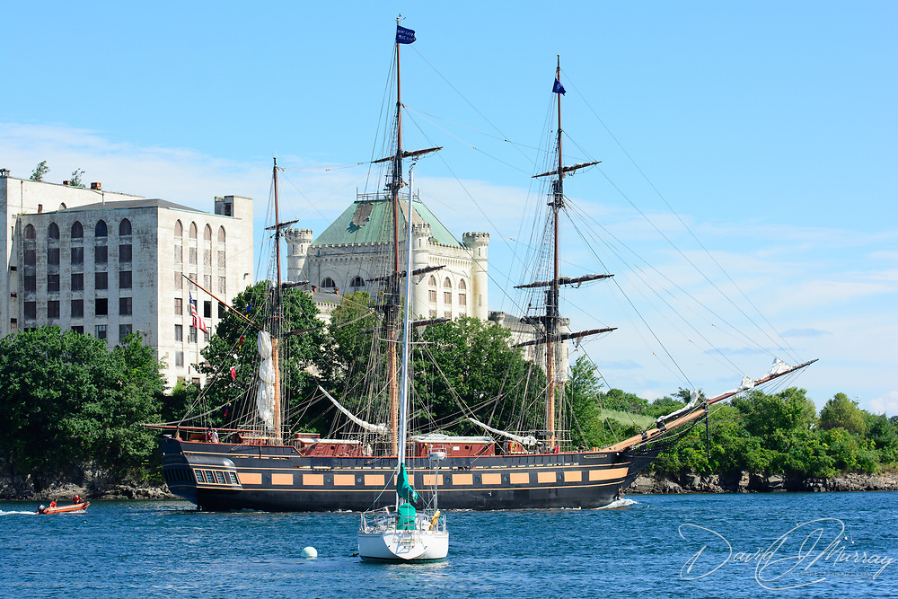 The Oliver Hazard Perry sails on  the Piscataqua River near the Portsmouth Naval Shipyard prison during the Parade of Sail event, August, 2016.