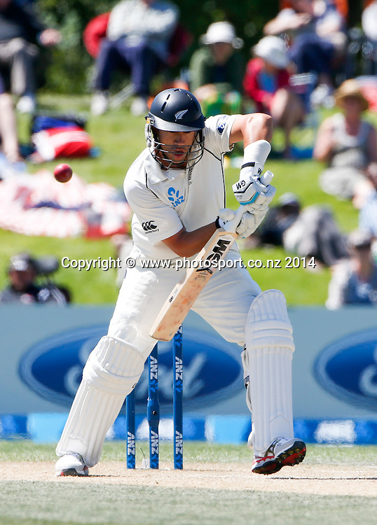 Ross Taylor plays a shot. Day 4, ANZ Boxing Day Cricket Test, New Zealand Black Caps v Sri Lanka, 29 December 2014, Hagley Oval, Christchurch, New Zealand. Photo: John Cowpland / www.photosport.co.nz