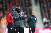 Football - 2019 / 2020 Premier League - AFC Bournemouth vs. Liverpool<br /> <br /> Liverpool Manager Jurgen Klopp applauds his side during the first half at the Vitality Stadium (Dean Court) Bournemouth <br /> <br /> COLORSPORT/SHAUN BOGGUST