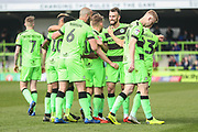 Forest Green Rovers Christian Doidge(9) scores a goal 1-0 and celebrates with his team mates during the EFL Sky Bet League 2 match between Forest Green Rovers and Macclesfield Town at the New Lawn, Forest Green, United Kingdom on 13 April 2019.