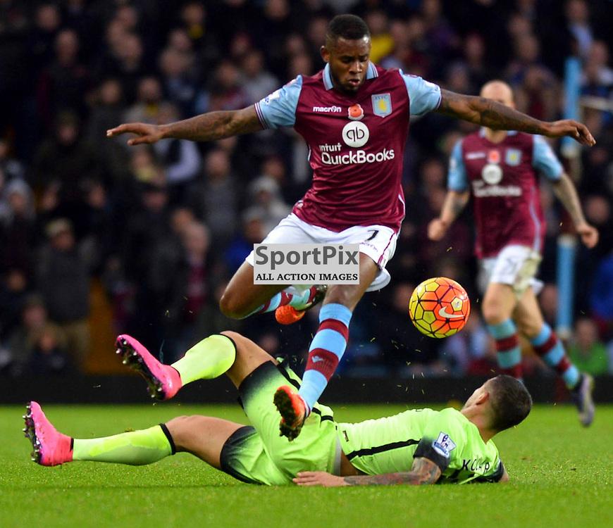 Jordan Veretout of Villa is tackled by Aleksandar Kolarov of Manchester City