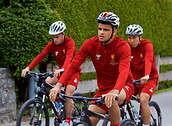 ROTTACH-EGERN, GERMANY - Thursday, July 27, 2017: Liverpool's Dominic Solanke cycles to training from the Seehotel Uberfahrt on the banks of Lake Tegernsee on day two of their preseason training camp in Germany. (Pic by David Rawcliffe/Propaganda)