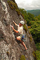 Eric Hiegl climbs Little Lost Cove Cliffs in the Pisgah National Forest, North Carolina. Steamy day on August 13, 2006. Unnamed 5.7, F.A. - Lynn Willis