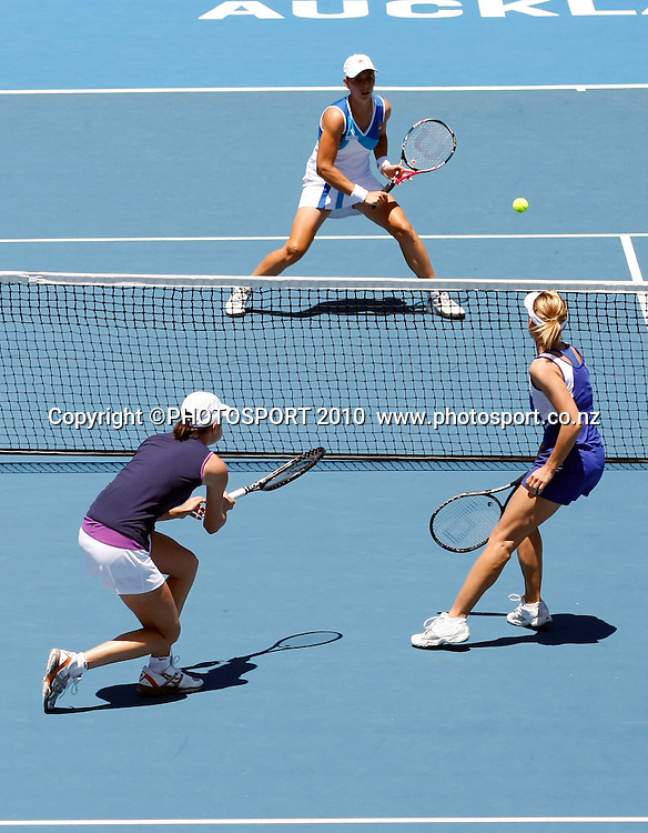 Kveta Peschke (R) and Katarina Srebotnic celebrate a point during their finals doubles match against Sofia Arvidsson and Marina Erakovic during her final match against at the WTA 2011 ASB Classic, ASB Tennis Centre, Auckland, New Zealand. Saturday 8 January 2011. Photo: Simon Watts/photosport.co.nz