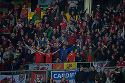 VIENNA, AUSTRIA - Thursday, October 6, 2016: Wales supporters reacts in the away section of the ground during the 2018 FIFA World Cup Qualifying Group D match against Austria at the Ernst-Happel-Stadion. (Pic by Peter Powell/Propaganda)