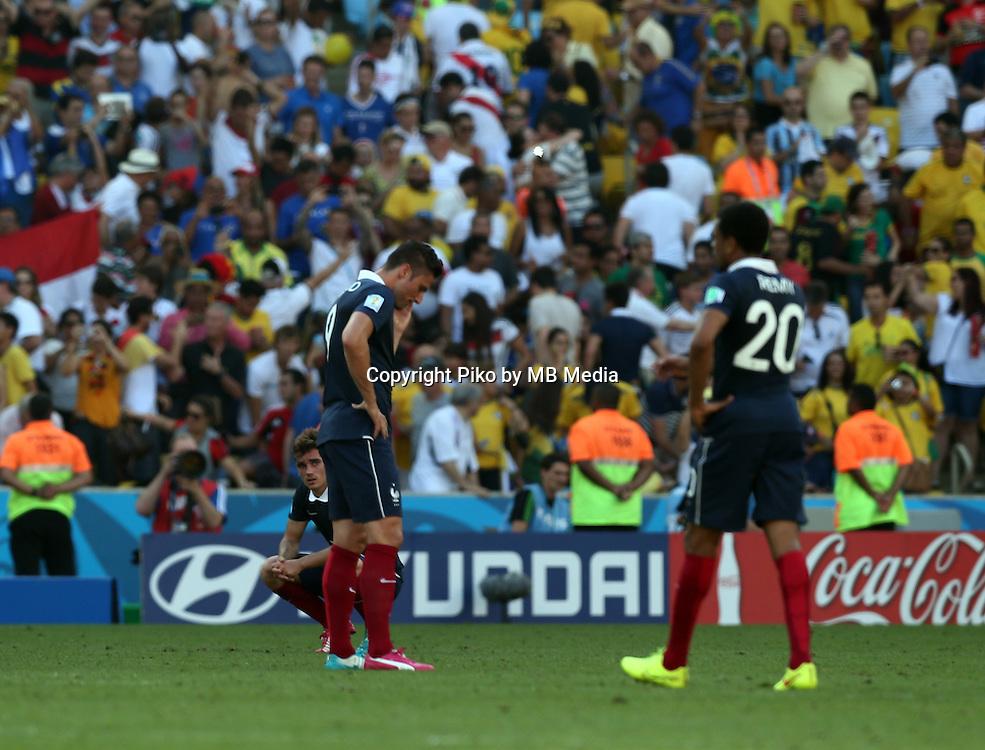 Fifa Soccer World Cup - Brazil 2014 - <br /> FRANCE (FRA) Vs. GERMANY (GER) - Quarter-finals - Estadio do Maracana Rio De Janeiro -- Brazil (BRA) - 04 July 2014 <br /> Here French players after loss the match.<br /> &copy; PikoPress
