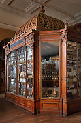 Cabinet displaying samples in the Musee Francois Tillequin – Collections de Matiere medicale, featuring laboratory collections of plants or parts of plants or animals used for medicinal purposes, at the former Ecole de Pharmacie de Paris, now the Faculte de Pharmacie at the Universite Paris Descartes, on the Avenue de l'Observatoire in the 6th arrondissement of Paris, France. The 25,000 samples were collected in the 18th, 19th and 20th centuries and the museum was opened in 1882. Picture by Manuel Cohen