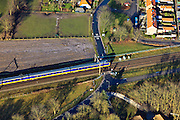 Nederland, Gelderland, Hattem, 20-01-2011; Hattemerbroek, Intercity Zwolle-Amersfoort bij overweg met AHOB.Train passing by, crossing a level crossing..luchtfoto (toeslag), aerial photo (additional fee required).copyright foto/photo Siebe Swart