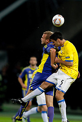 Dalibor Volas of NK Maribor and Pablo Ibanez of Birmingham City at 2nd Round of Europe League football match between NK Maribor (Slovenia) and Birmingham City (England), on September 29, 2011, in Maribor, Slovenia.  (Photo by Urban Urbanc / Sportida)