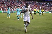 Manchester United Forward Romelu Lukaku comes off at half time during the International Champions Cup match between Barcelona and Manchester United at FedEx Field, Landover, United States on 26 July 2017.