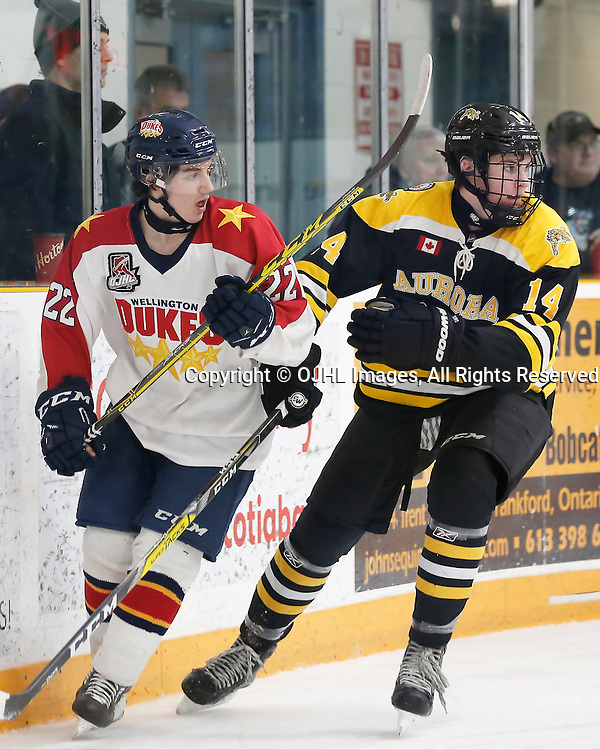 TRENTON, ON - JAN 24,  2017: Ontario Junior Hockey League action game between Aurora and Wellington at the 2017 Winter Showcase, Mitchell Martan #22 of the Wellington Dukes and Steven MacLean #14 of the Aurora Tigers<br /> (Photo by Amy Deroche / OJHL Images)