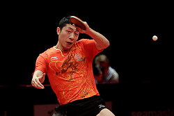 BREMEN, March 25, 2018  China's Xu Xin competes during the men's singles semifinal match against Germany's Patrick Franziska at the 2018 ITTF World Tour Platinum German Open in Bremen, Germany, on March 25, 2018. Xu Xin won 4-2 and advanced to the final. (Credit Image: © Binh Truong/Xinhua via ZUMA Wire)