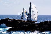 P2 and Danneskjold sailing in the St. Barth's Bucket Regatta, race three.