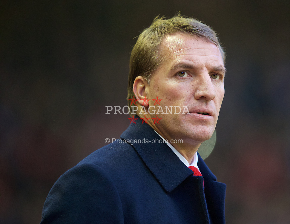 LIVERPOOL, ENGLAND - Saturday, November 29, 2014: Liverpool's manager Brendan Rodgers before the Premier League match against Stoke City at Anfield. (Pic by David Rawcliffe/Propaganda)
