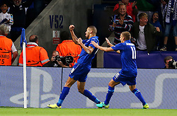 Islam Slimani of Leicester City celebrates after scoring his sides first goal  - Mandatory by-line: Matt McNulty/JMP - 27/09/2016 - FOOTBALL - King Power Stadium - Leicester, England - Leicester City v FC Porto - UEFA Champions League