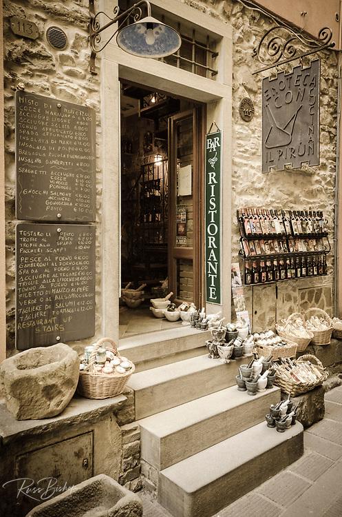 Shops and narrow street in Corniglia, Cinque Terre, Liguria, Italy