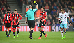 Dan Gosling of Bournemouth reacts to his yellow card. - Mandatory by-line: Alex James/JMP - 11/03/2017 - FOOTBALL - Vitality Stadium - Bournemouth, England - Bournemouth v West Ham United - Premier League