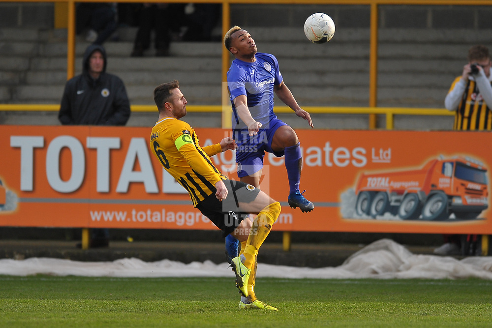 TELFORD COPYRIGHT MIKE SHERIDAN Marcus Dinanga of Telford battles for the ball with Boston's Luke Shiels  during the Vanarama Conference North fixture between Boston and AFC Telford United at the Jakemans Stadium, York Street on Saturday, February 22, 2020.<br /> <br /> Picture credit: Mike Sheridan/Ultrapress<br /> <br /> MS201920-047
