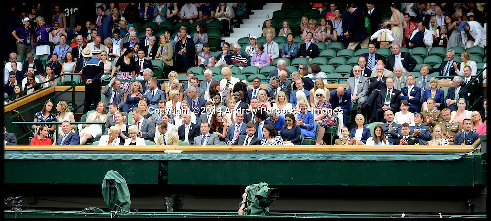 Image ©Licensed to i-Images Picture Agency. 28/06/2014, Wimbledon, London, United Kingdom. `The  Royal box on Day 6 of the Wimbledon Tennis Championship. Picture by Andrew Parsons / i-Images
