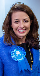 © Licensed to London News Pictures. 13/12/2019. Denham, UK. Joy Morrissey the Conservative and Unionist Party candidate arrives at the offices of the South Bucks District Council for the Beaconsfield constituency vote count for the 2019 General election. Photo credit: Peter Manning/LNP