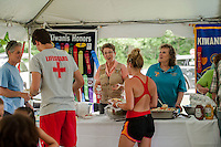 Lifeguards and Kiwanians enjoy a BBQ lunch following the 70th Anniversary celebration of the Kiwanis Pool in St. Johnsbury Vermont.  Karen Bobotas / for Kiwanis International