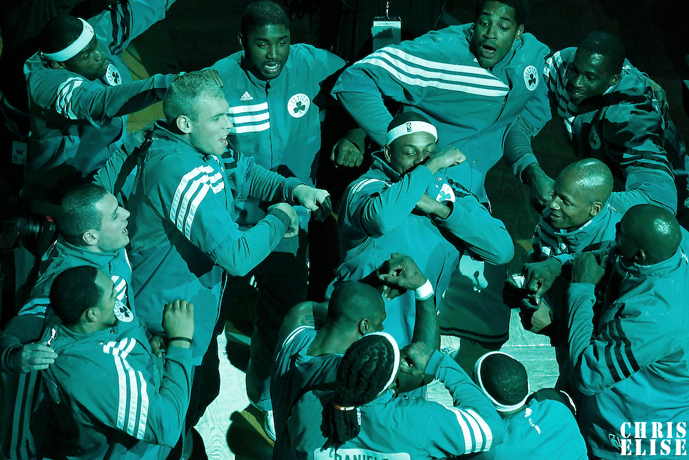 03 June 2012: Celtics players dance during the players introduction prior to Boston Celtics 93-91 overtime victory over the Miami Heat, in Game 4 of the Eastern Conference Finals playoff series, at the TD Banknorth Garden, Boston, Massachusetts, USA.
