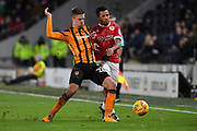 Hull City midfielder Markus Henriksen (22) and Bristol City midfielder Korey Smith (7)  during the EFL Sky Bet Championship match between Hull City and Bristol City at the KCOM Stadium, Kingston upon Hull, England on 25 November 2017. Photo by Ian Lyall.