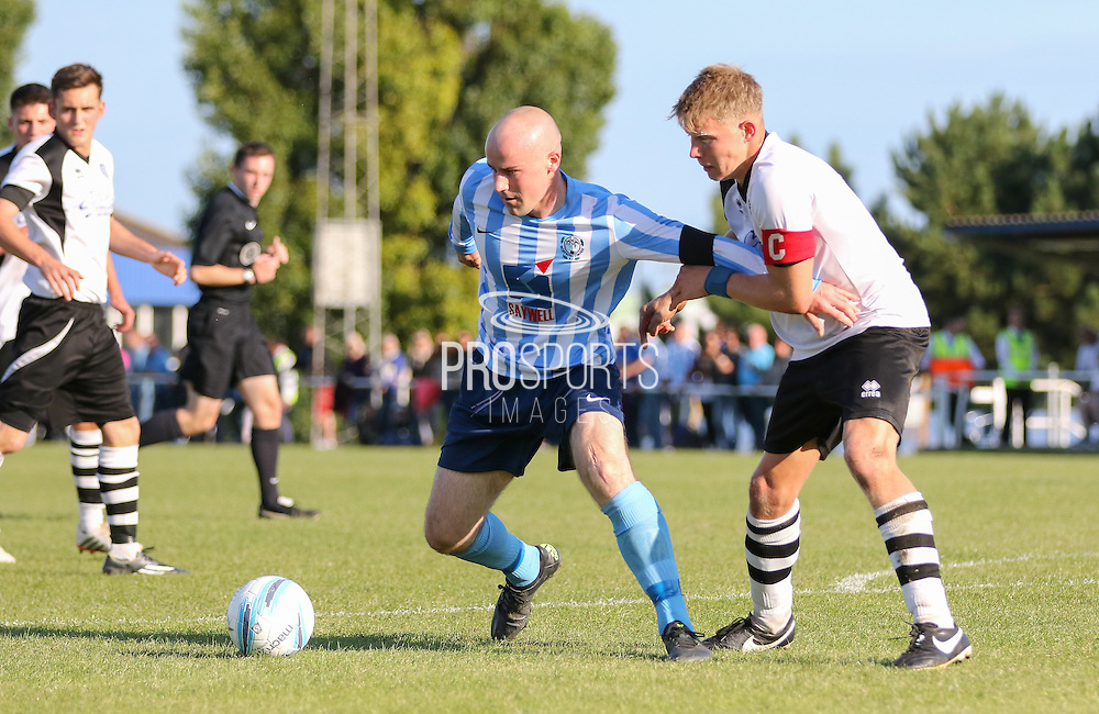 Sam Blundell of Worthing United on the ball before the FA Vase 1st Qualifying Round match between Worthing United and East Preston FC at the Robert Eaton Memorial Ground, Worthing, United Kingdom on 6 September 2015. Photo by Phil Duncan.