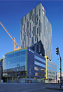 20-storey Alt Hotel Winnipeg (tall building) and offices of Stantec Architecture (lower building) at 311  Portage Avenue<br /> Winnipeg<br /> Manitoba<br /> Canada