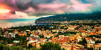 """Panorama Sunset from Sorrento over Sant'Agnello and the Gulf of Naples""…<br />