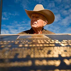 021611       Brian Leddy.Bill Richardson stands in front of a plaque that was dedicated to him and his late wife, Mattie Lee, on Wednesday at the McKinley County Courthouse Square on Wednesday. Richardson and his wife were honored for their contributions to Gallup.