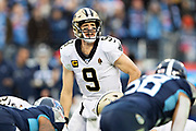 NASHVILLE, TN - DECEMBER 22:  Drew Brees #9 of the New Orleans Saints looks over the defense at the line of scrimmage during a game against the Tennessee Titans at Nissan Stadium on December 22, 2019 in Nashville, Tennessee. The Saints defeated the Titans 38-28.  (Photo by Wesley Hitt/Getty Images) *** Local Caption *** Drew Brees