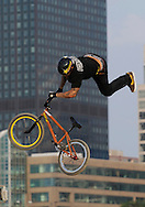 Luke Parslow competes at the AST Dew Tour Right Guard Open BMX Dirt Finals Friday, July 18, 2008 in Cleveland, OH.