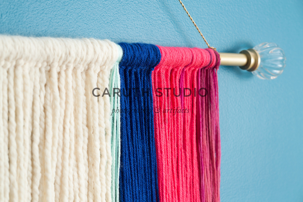 Detail of macrame wall hanging