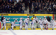 Disappointed players of ZSC Lions are pictured after a 3-2 defeat during overtime in the ice hockey game five of the Swiss National League A Playoff Quarterfinal between Kloten Flyers and ZSC Lions held at the Kolping Arena in Kloten, Switzerland, Tuesday, March 8, 2011. (Photo by Patrick B. Kraemer / MAGICPBK)