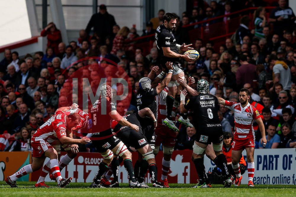 London Irish Number 8 Tom Guest wins a lineout - Photo mandatory by-line: Rogan Thomson/JMP - 07966 386802 - 09/05/2015 - SPORT - RUGBY UNION - Gloucester, England - Kingsholm Stadium - Gloucester Rugby v London Irish - Aviva Premiership.