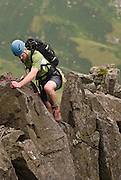 Scrambling on Pinnacle Ridge, St.Sunday Crag, Patterdale, Ullswater, Lake District, Cumbria, England, UK