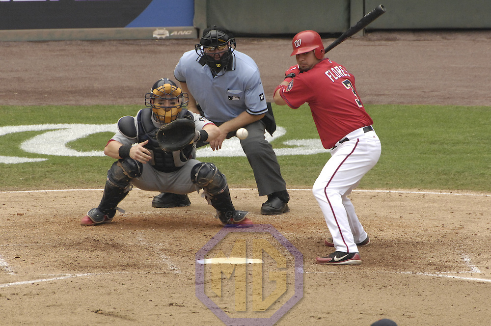 05 August 2007:  Washington Nationals catcher Jesus Flores (3) in action against the St. Louis Cardinals. The Nationals defeated the Cardinals 6-3 to sweep the weekend series at RFK Stadium in Washington, D.C.