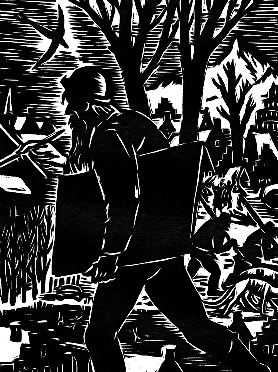 A black / white drawing depicting the painter that is underway in the countryside .