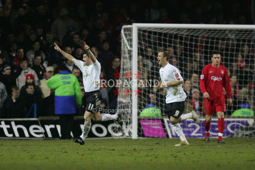 LUTON, ENGLAND - SATURDAY, JANUARY 7th, 2006: Luton Town's Steven Robson celebrates scoring the second goal against Liverpool during the FA Cup 3rd Round match at Kenilworth Road. (Pic by David Rawcliffe/Propaganda)