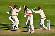 Wicket - Marcus Trescothick of Somerset celebrates taking the catch to dismiss Ryan McLaren of Lancashire from the bowling of Jack Leach of Somerset during the Specsavers County Champ Div 1 match between Somerset County Cricket Club and Lancashire County Cricket Club at the Cooper Associates County Ground, Taunton, United Kingdom on 14 September 2017. Photo by Graham Hunt.