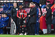 Substitute Jermain Defoe (18) of AFC Bournemouth is handed a piece of paper by AFC Bournemouth manager Eddie Howe as he is about to come on during the Premier League match between Bournemouth and Tottenham Hotspur at the Vitality Stadium, Bournemouth, England on 11 March 2018. Picture by Graham Hunt.