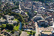 Nederland, Overijssel, Gemeente Steenwijkerland, 27-08-2013; <br /> Het centrum van het vestingstadje Steenwijk met kerk . Boven in beeld industrieterrein en bossen.<br /> The fortified city of Steenwijk in the east of the Netherlands.<br /> luchtfoto (toeslag op standaard tarieven);<br /> aerial photo (additional fee required);<br /> copyright foto/photo Siebe Swart.