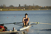 Eton, GREAT BRITAIN,  Ertan HAZINE, M1X, powers away from the Start, GB Trials 3rd Winter assessment at,  Eton Rowing Centre, venue for the 2012 Olympic Rowing Regatta, Trials cut short due to weather conditions forecast for the second day Sunday  13/02/2011   [Photo, Karon Phillips/Intersport-images]