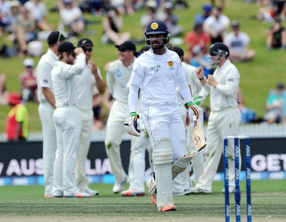 Sri Lanka's Dinesh Chandimal out for 4, caught by New Zealand's Martin Guptill off the bowling of Neil Wagner on day three of the second International Cricket Test, Seddon Park, Hamilton, New Zealand, Sunday, December 20, 2015. Credit:SNPA / Ross Setford
