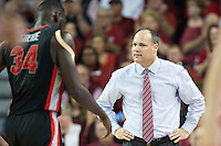 FAYETTEVILLE, AR - MARCH 4:  Head Coach Mark Fox of the Georgia Bulldogs watches his team during a game against the Arkansas Razorbacks at Bud Walton Arena on March, 2017 in Fayetteville, Arkansas.  The Razorbacks defeated the Bulldogs 85-67.  (Photo by Wesley Hitt/Getty Images) *** Local Caption *** Mark Fox