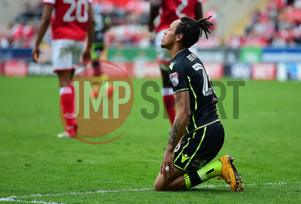 Kyle Bennett of Bristol Rovers looks frustrated after missing a chance. - Mandatory by-line: Alex James/JMP - 21/04/2018 - FOOTBALL - Aesseal New York Stadium - Rotherham, England - Rotherham United v Bristol Rovers - Sky Bet League One
